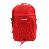 Red Supreme Print Stylish Back To School Casual Alphabet Backpack