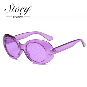 STORY Vintage Retro Purple Oval Sunglasses Women 2018 Sunmmer Glitter Candy Color Transparent Frame Kurt Cobain Sun Glasses