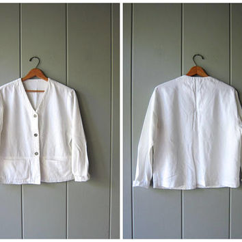 Minimal White Shirt Boxy Cropped Button Up Shirt Jacket 90s Long Sleeve Top with Pockets Modern Cotton Rayon Crop Top Womens Medium