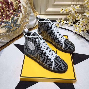 Fendi Women Fashion Lace-up high top Casual Sneaker sport Shoes white boots Best quality