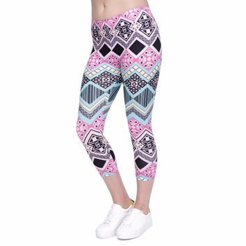 Pink Black Aztec Capri Leggings