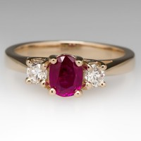 Three Stone 14K .85 Carat Ruby & Diamond Ring