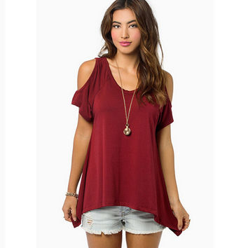 Red Strapless T-Shirts Top Tee