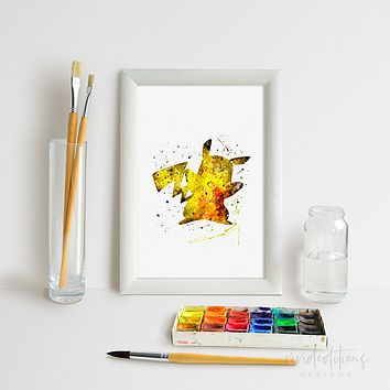 Pikachu, Pokemon Go Watercolor Art Print