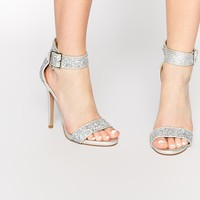 Truffle Collection Rita Silver Ankle Strap Heeled Sandals