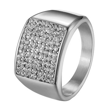 Mens Pinky Ring Stainless Steel Iced Out Wedding Engagement Hip Hop Custom Style
