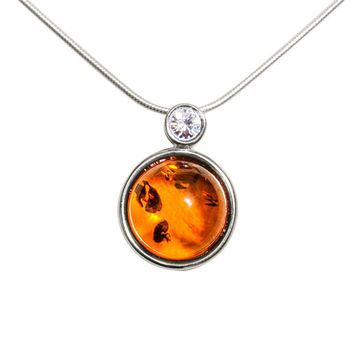 Sterling silver necklace Baltic Amber combined with Zircon