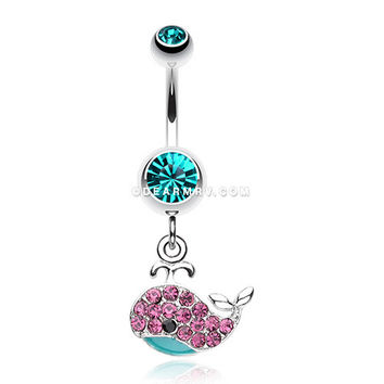 Adorable Whale Multi-Gem Belly Button Ring (Teal)