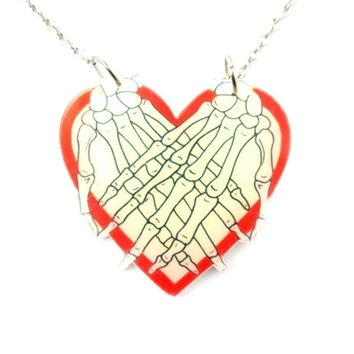 Skeleton Zombie Hands Over My Heart Shaped Pendant Necklace in Acrylic | DOTOLY