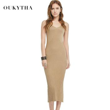 Oukytha 2018 Summer New Casual Sleeveless V-neck Sweater Close fitting Maxi Long Dress Brown Black Sweater dress Knitted S166048