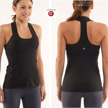 Lululemon Fashion Gauze Solid Gym Yoga Sport Vest Tank Top Cami