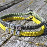 BAE, Before Anyone Else, Bright Yellow and Camo Macrame Hemp Jewelry for Couples or Best Friends, Handmade Bracelets