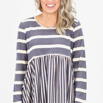 Vertical + Horizontal Stripes Babydoll Top {Navy}