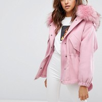Boohoo Faux Fur Hooded Parka Jacket at asos.com