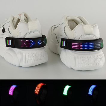 2pcs LED Luminous Shoe Clip Night Safety Shoes Light Warning Reflector Outdoor Bicycle Running Shoe Clips Sports USB Charging