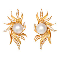 SPRITZER and FUHRMANN Diamond and Pearl Gold Earclips