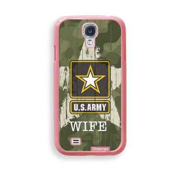 Shawnex US Army Wife Camo ThinShell Protective Pink Plastic Samsung Galaxy S4 Case - Galaxy i9500 Case Snap On Case