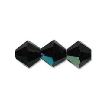 MC30203JETAB - 3mm Preciosa Bicone Crystal Beads,  Jet Ab | Pkg 144