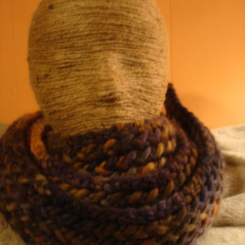 Long Merino Wool Scarf Blues Greens and Golds