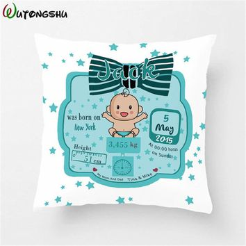 Customized Baby Kids Pillow Cases Birth Data Crown Pillow For Newborn Boys Decorative Cushion Cover Customize Baby New Born Gift