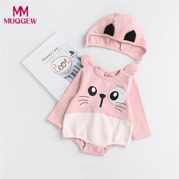 Hot Sale Cute Toddler Newborn Baby Boys Girls Cat Cartoon Hoodie Rompers Autumn Long Sleeve Casual Romper Outfits Clothes