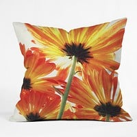 Shannon Clark Orange Daisies Throw Pillow