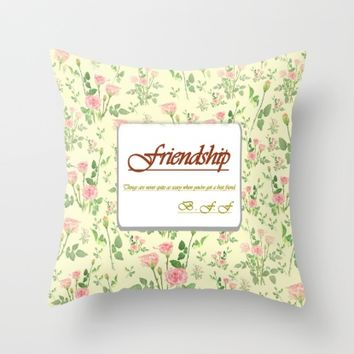 Friendship best friend forever Throw Pillow by Color And Color