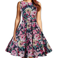 Women's Fashion Print Summer Floral One Piece Dress = 5893451137