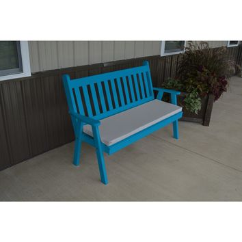 A & L Furniture Co. Yellow Pine 5' Traditional English Garden Bench  - Ships FREE in 5-7 Business days