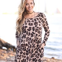 Leopard Short Dress with Elbow Patches