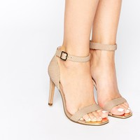 Dune Maggi Nude Snake Effect Barely There Heeled Sandals