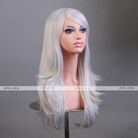 """Outop 28 """"High Quality Women's Hair Wig New Fashion Woman's Long Big Wavy Hair Heat Resistant Wig for Cosplay Party Costume (Silvery White)"""