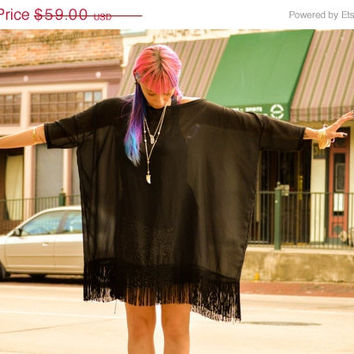 SALE Oversized Boxy Dress Tee Tunic Shirt Handmade Boho Apparel Bohemian Chiffon Fringe Black