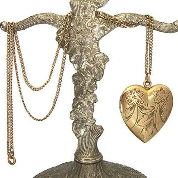 Antique Etched Engraved Heart Shaped Locket 1/20 12K GF 12KGF Gold Filled Signed B&O Baum and Oppenheim Victorian Edwardian Pendant Necklace
