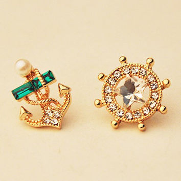 Gold and Rhinestone Nautical Anchor and Rudder Earrings