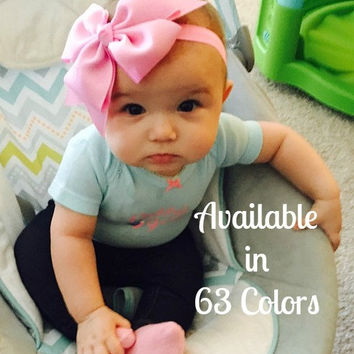 Baby Bows and Headbands, Bow Headband, Toddler Headband, Baby Bow Headband, 6 inch Hair Bows, Girls Headbands, Simply Baby Headband, 600, HB