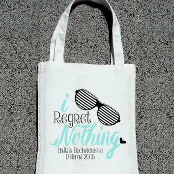 I Regret Nothing Bachelorette Party Tote - Wedding Welcome Tote Bag