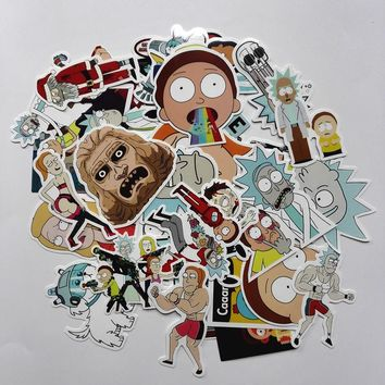 35Pcs/lot Drama Rick and Morty Stickers Decal For Snowboard Laptop Luggage Car Fridge Car- Styling Vinyl Home Decor Pegatina