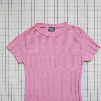 90's Baby Pink Ribbed Top, Soft Grunge, Clueless, Minimalist, Pastel Goth, Club Kid, Aesthetic, Tumblr, S