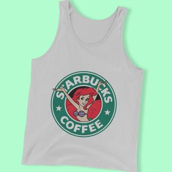 Disney Princess Ariel Mermaid As Starbucks Logo Men'S Tank Top