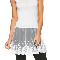 Simple Times Lace Cami-Dress Skirt Extender (White)