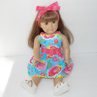 """Doll Emma Dress in Turquoise Piqué Cotton American Made for Your 18"""" Girl Doll Adorabledolldesigns- with hair tye"""