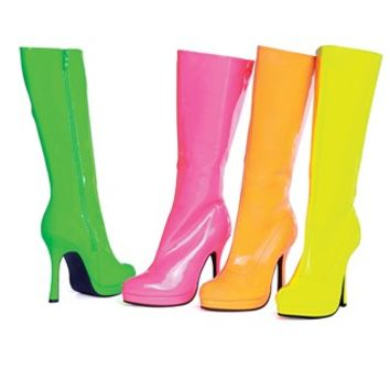Wet Look Neon Candy Boots