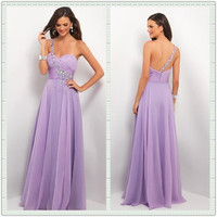 Purple A-line Chiffon Floor-Length Prom Dress/Graduation Dress from Gorgeous prom