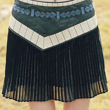 Embroidered Pleated A-Line Mini Skirt