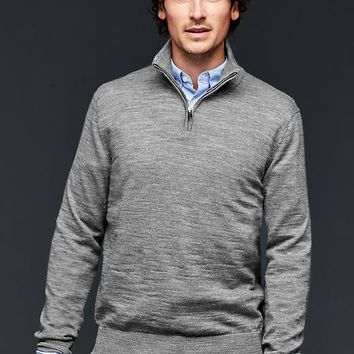 Gap Men Merino Half Zip Slub Sweater