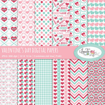 Valentine's Day digital paper, digital paper, Valentine's Day scrapbook paper, planner paper, Mother's day, Sweet 16 digital paper,  P343