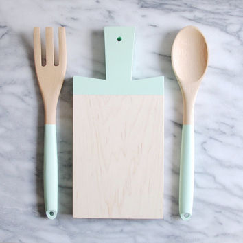 Paddle Cutting Board and Kitchen Utensil Set - Mint Green | Host Gift | Wood Cutting Board | Wood Spoon and Fork