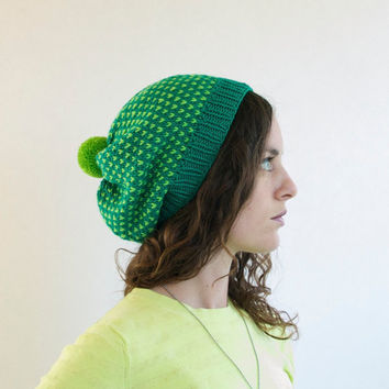 Slouchy Knitted Hat with Pom Pom - Lime & Emerald Green