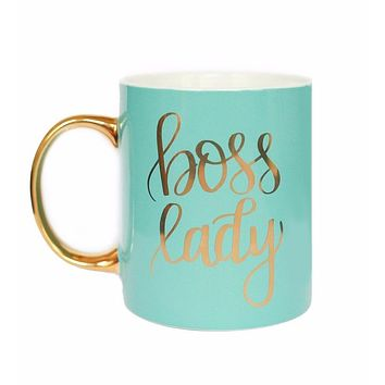 Boss Lady Mug in Mint and Metallic Gold